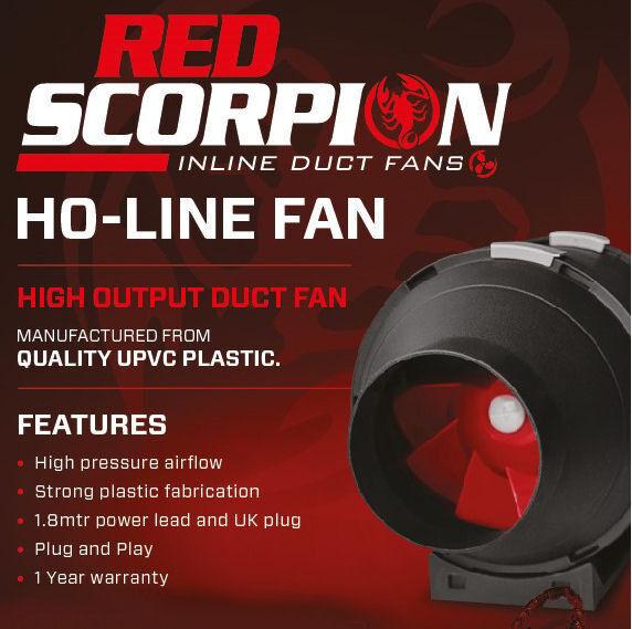 Röd Scorpion HO Inline Grow Room Fan 100mm 4  Extraction RVK  TT Hydroponics