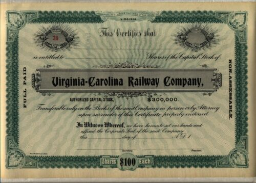 Virginia Carolina Railway Company Stock Certificate Railroad Green