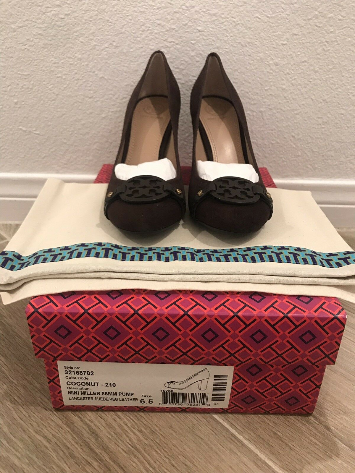 NEW Tory Burch Size 6.5 Brown Mini Miller 85mm Pump Lancaster Suede Leather