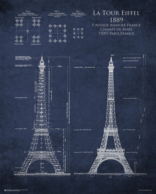 Blueprints collection on ebay eiffel tower blueprint poster 24x30 paris france 10395 malvernweather Gallery