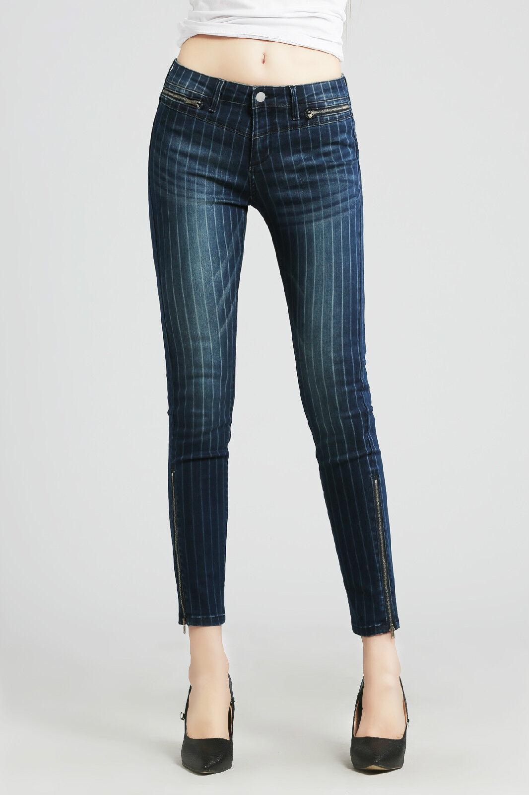 Women Denim Laser Printed Zip Skinny Jeans Stretch Pants Low Rise Slim Size 28