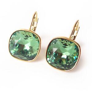 c28e082c0b1920 Sage Green Crystal Drop Earring w/ Cushion Cut Swarovski Rhinestone ...