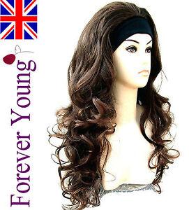 Ladies-Long-Dark-Brown-Half-Wig-Wavy-3-4-Wig-Fall-Hair-Piece-Extension
