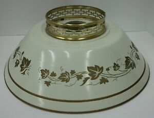 Vintage-Mid-Century-Tole-Ware-Metal-Lamp-Shade-Off-White-amp-Gold-14-034