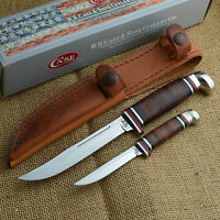 Case Xx Twin Finn Two Knife Fixed Blade Set Leather Handles And Sheath 00372