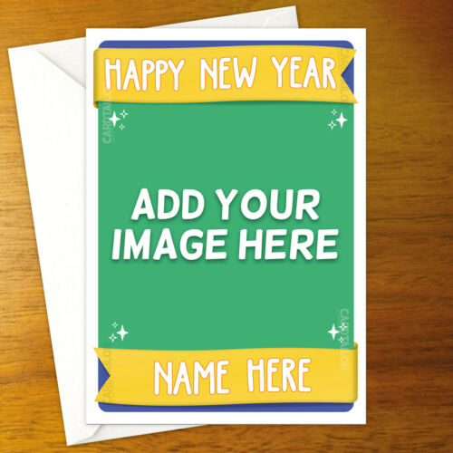 CUSTOM ADD YOUR PHOTO Personalised New Year Card personalized holiday happy