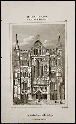 Antiques Constructive 1842 Engraving Antique Cathedral Salisbury/england Engraving Clearance Price