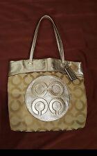 Authentic COACH LAURA Gold And Brown Large Signature Tote Shoulder Bag Purse EUC
