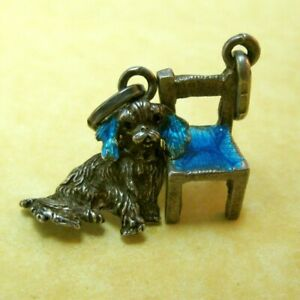 Two-Vintage-Sterling-Silver-Charms-Turquoise-Enamel-Chair-Cocker-Spaniel-Dog