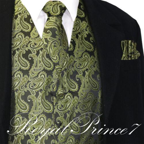Olive Green Paisley Tuxedo Suit Dress Vest Waistcoat /& Neck tie /& And Hankie Set