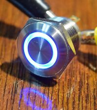 16mm Stainless Steel Flat Blue LED Ring Pushbutton Switch for Mods Free Ship