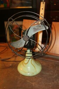 Antique-Akro-Agate-Style-Green-Brown-Swirl-Slag-Glass-Base-2-Blade-Fan-WORKS