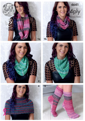 Knitting Pattern Womens Scarf Neckerchief Neck Warmer Socks King Cole 4 Ply 4641