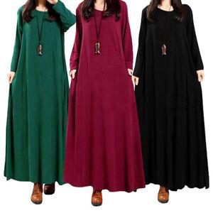 Muslim-Vintage-Abaya-Women-Casual-Loose-Long-Sleeve-Boho-Long-Maxi-Dress-Gown