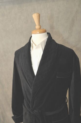 Velvet # OCDE Quilted Shawl Mens Smoking Jacket–Black//Black Shawl