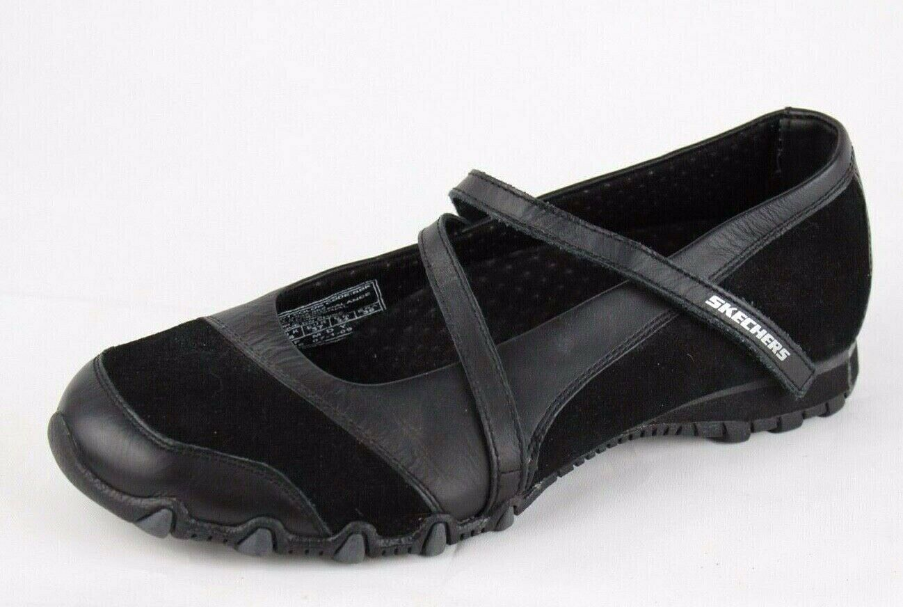 Skechers women's Mary Jane black ballerina shoes leather synthetic size 7