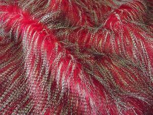 Tissu Fausse Fourrure Super Luxueuse Matière - Rouge Chevron Paon 288