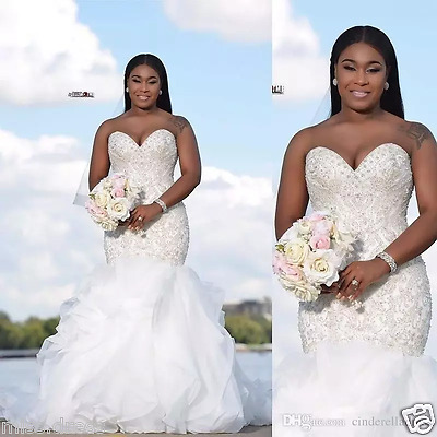Luxury Beaded Crystals Mermaid Wedding Dresses Sweetheart Ruffles Bridal Gown