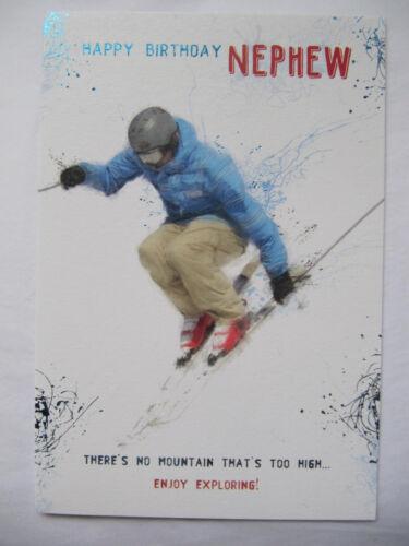 Coloré alpin skieur aucune montagne trop élevé neveu anniversaire carte de vœux