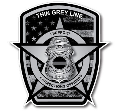 Thin Grey Line Badge Decal Correctional Officer Car Truck