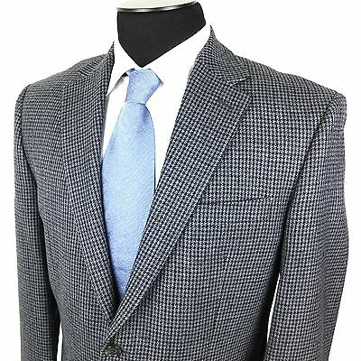 RALPH LAUREN Men 40R Gray Blue Black Houndstooth 2-Button Wool Sport Coat/Jacket