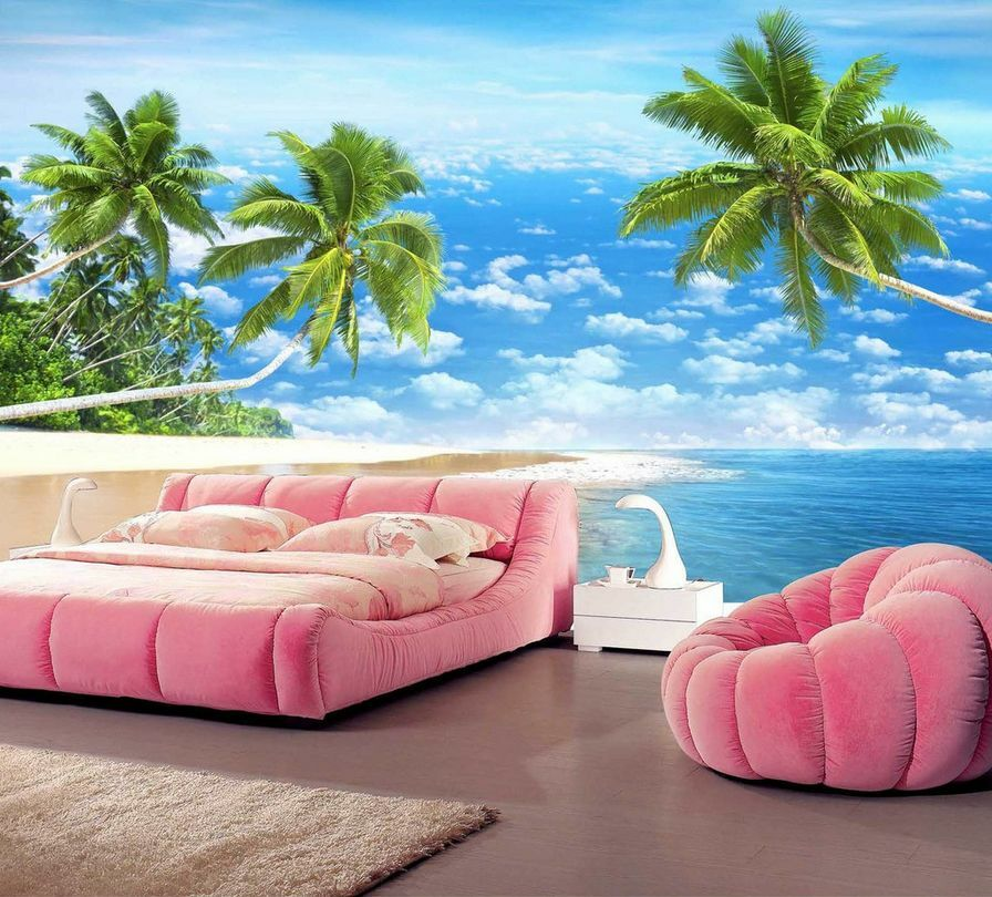 3D Beach Green Coconut Forest 37 Wall Paper Wall Print Decal Wall AJ Wall Paper