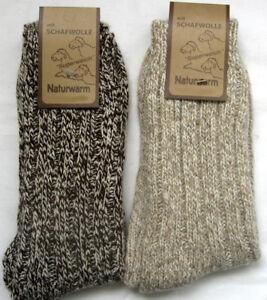 2 Paar Damen Socken Norwegersocken mit 70/% Schafwolle beige und braun 35 bis 42