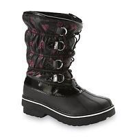 Athletech Girls Winter Boots Addison Black Pink Hearts Kids Sizes 11 12 13
