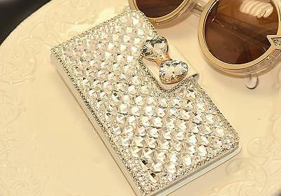 Bling Crystal White PU Leather Case Cover For Xiaomi/Lenovo/ASUS/Moto/BlackBerry