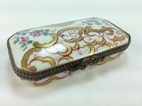 Limoges Chamart Exclusive FLORAL Hinged Ring Trinket Box hAND PAINTED