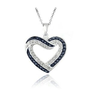0-50ct-TDW-Black-or-Blue-amp-White-Diamond-Open-Heart-Necklace