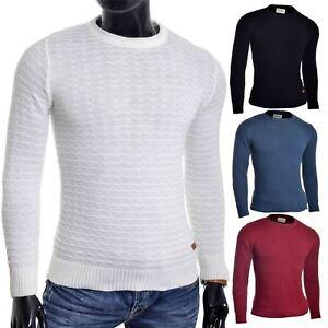 Men-039-s-Jumper-Striped-Knit-Smart-Long-Sleeve-Sweater-Crew-Neck-Top-Slim-Fitness
