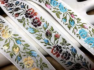 VINTAGE-1930-039-s-Cotton-SILK-1-3-8-034-Embroidered-Ribbon-Trim-1yd-Made-in-France