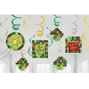 12pk Tnt Pixel Video Game Swirl Decorations Childrens Birthday Party