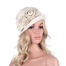 6d38cde3729 item 4 Womens 100% Wool Cap Beret Two Floral 1920s Winter Beanie Cloche  Bucket Hat A287 -Womens 100% Wool Cap Beret Two Floral 1920s Winter Beanie  Cloche ...