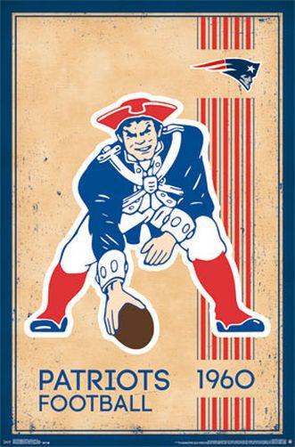 NEW ENGLAND PATRIOTS - RETRO LOGO POSTER - 22x34 NFL FOOTBALL 13176