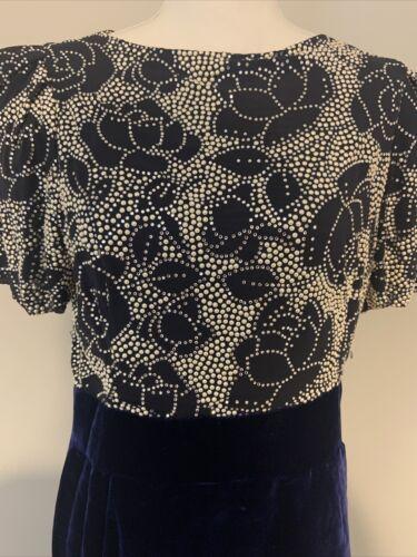 Arnold Scaasi Vintage Couture Blue Velvet Dress w… - image 1