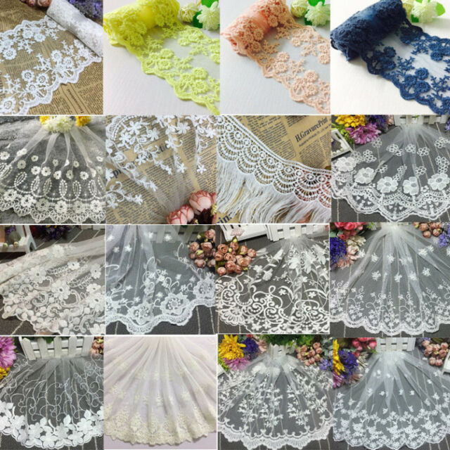 1Yard Vintage Floral Embroidered Lace Sewing Trim Fabric Bridal Applique Craft