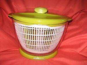 Details about Kitchenaid Salad and Fruit Spinner Colander Serving Bowl 5 Qt