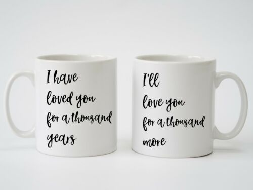 Christina Perri /'A Thousand Years/' Pair of Personalised Mugs Ideal Wedding Gift