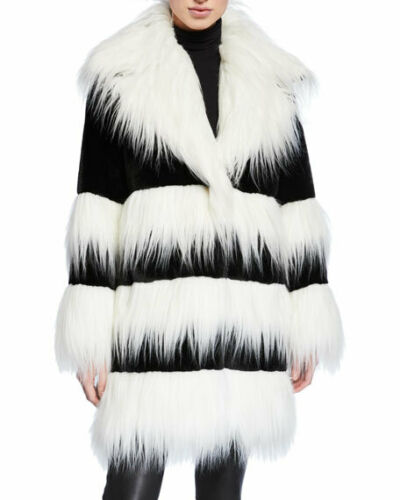 AMANDA BALDAN TWO-TONE FAUX FUR BEAVER & MONKEY WI
