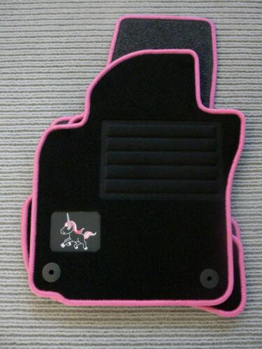$$$ Lengenfelder EINHORN Fußmatten für Citroen C1 NEU Rand PINK als GESCHENK