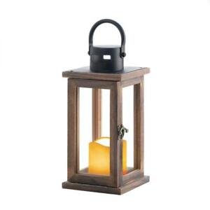 brown-Wood-amp-metal-10-034-Lantern-amp-LED-flameless-Candle-holder-Lamp-light-wedding