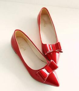 Women-Patent-Leather-Pointed-Toe-Mary-Janes-Bow-Sweet-Lolita-Flat-Pumps-Shoes