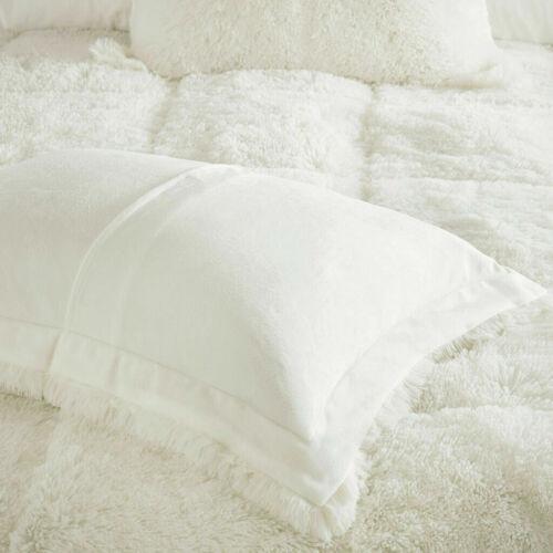 New SUPER ULTRA SOFT PLUSH MODERN COZY IVORY WHITE FAUX FUR LUXURY COMFORTER SET