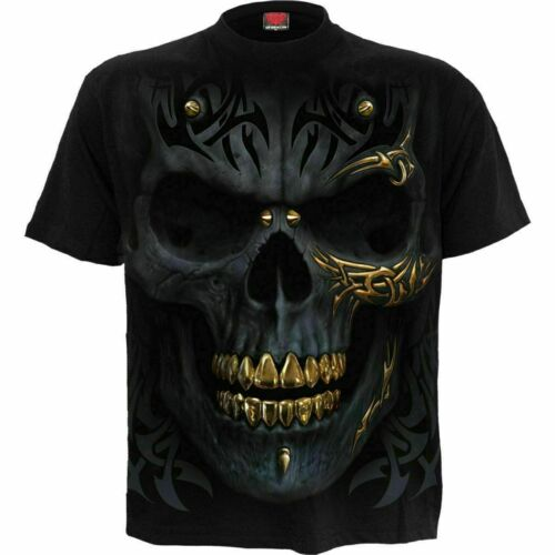 Spiral Direct BLACK GOLD Mens Skull//Reaper//Bullets//Tattoo//Rock//T Shirt//Clothing
