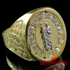MENS 10K TWO TONE GOLD SAINT JUDE SAN JUDAS TADEO LAB DIAMOND SIMULATE RING BAND