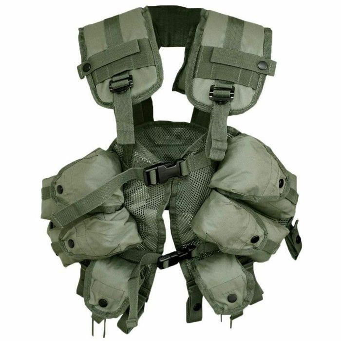 Mil-Tec US Upholstered Tactical Army Load Bearing Vest 6 Pouches Olive