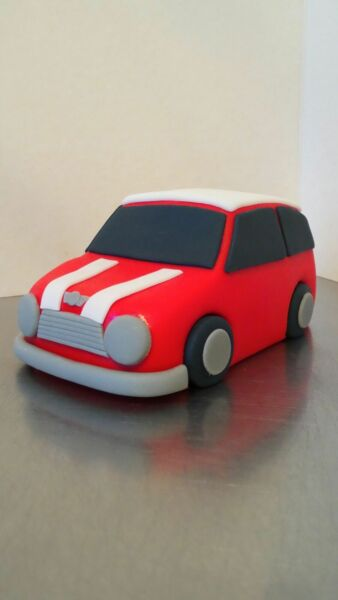 Handmade Edible Fondant Mini Car Birthday Retirement Cake Topper