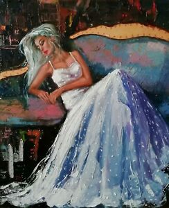 """""""A la fin de la dance""""- huile sur toile, 50x60cm original, palette, signè"""